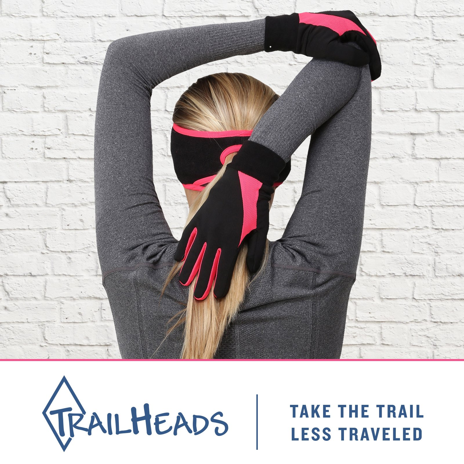 TrailHeads Running Gloves   Lightweight Gloves with Touchscreen Fingers -Black/Bright Coral (Large) by TrailHeads (Image #3)