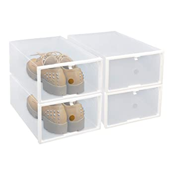 Clear Shoe Storage Boxes.Fixsmith Clear Plastic Shoe Storage Boxes Foldable Shoe Containers 4 Pack Stackable Shoe Cases W White Frame Back To School Transparent Shoe