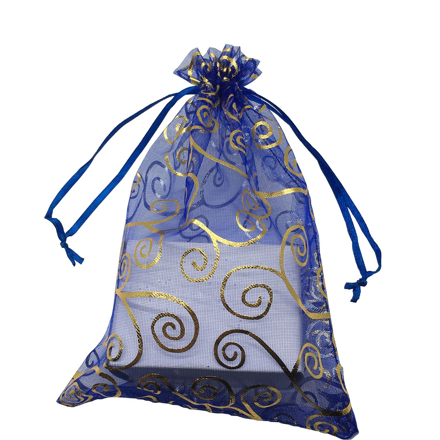 13x18cm Drawstring Organza Jewelry Favor Pouches Wedding Party Festival Gift Bags Candy Bags 5x7, Royal Blue and Gold Sosam 100PCS 5x7