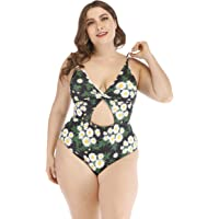 Wellwits Women's Plus Size Twisted Cutout Friuit Daisy One Piece Swimsuit