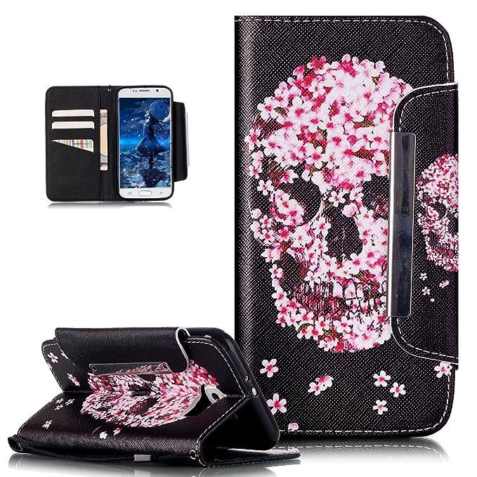 Kompatibel mit Galaxy S6 Edge Plus Hülle,Bunte Gemalt Malerei PU Lederhülle Schutzhülle Handyhülle Taschen Handy Tasche Flip