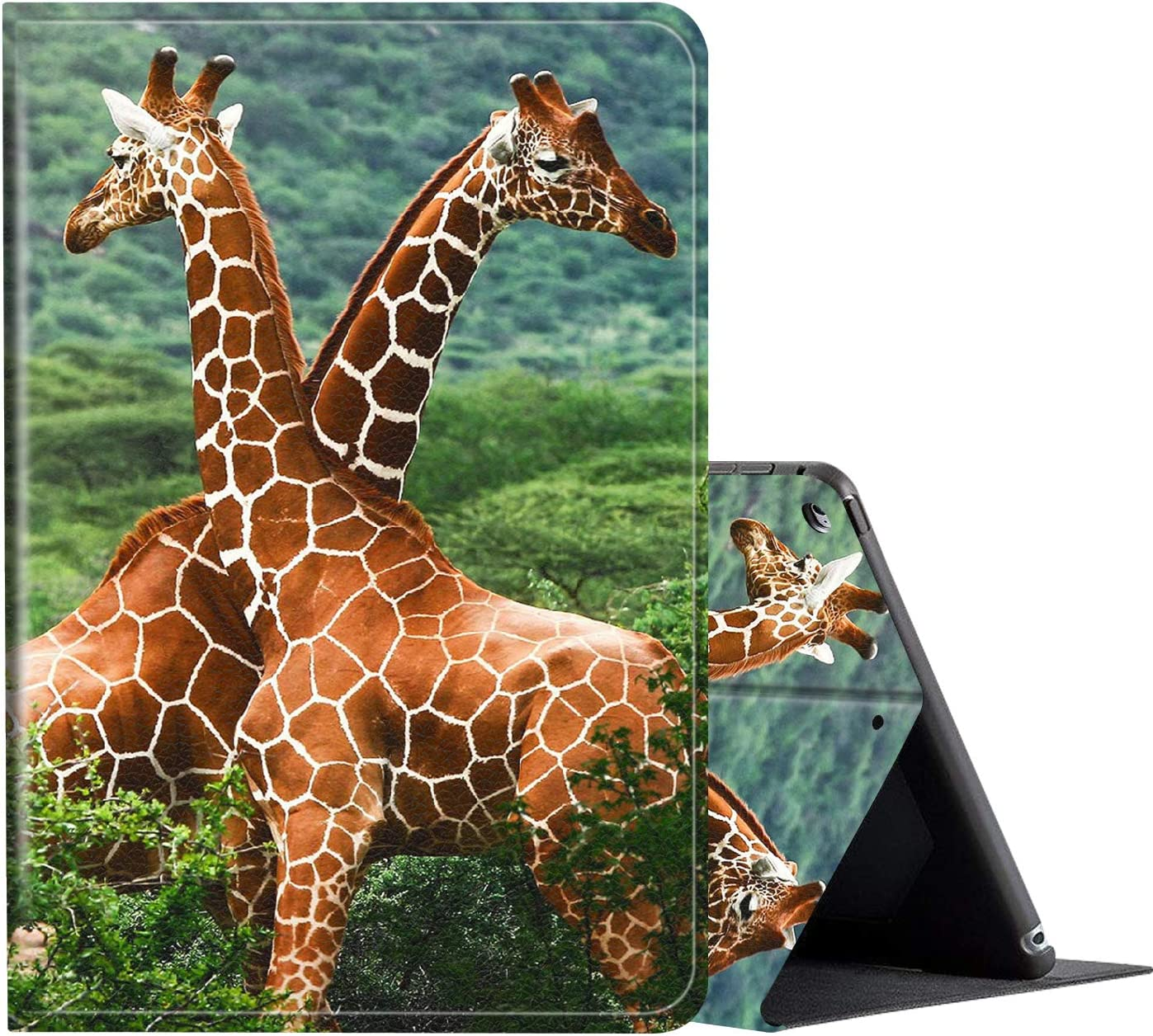 iPad 10.2 Case (2020/2019) 8th/7th Generation ipad Case,Amook Adjustable Non-Slip Folio Stand with Auto Wake/Sleep Smart Cover for New Apple iPad 8/7 Gen 10.2 inch-Cute Giraffe