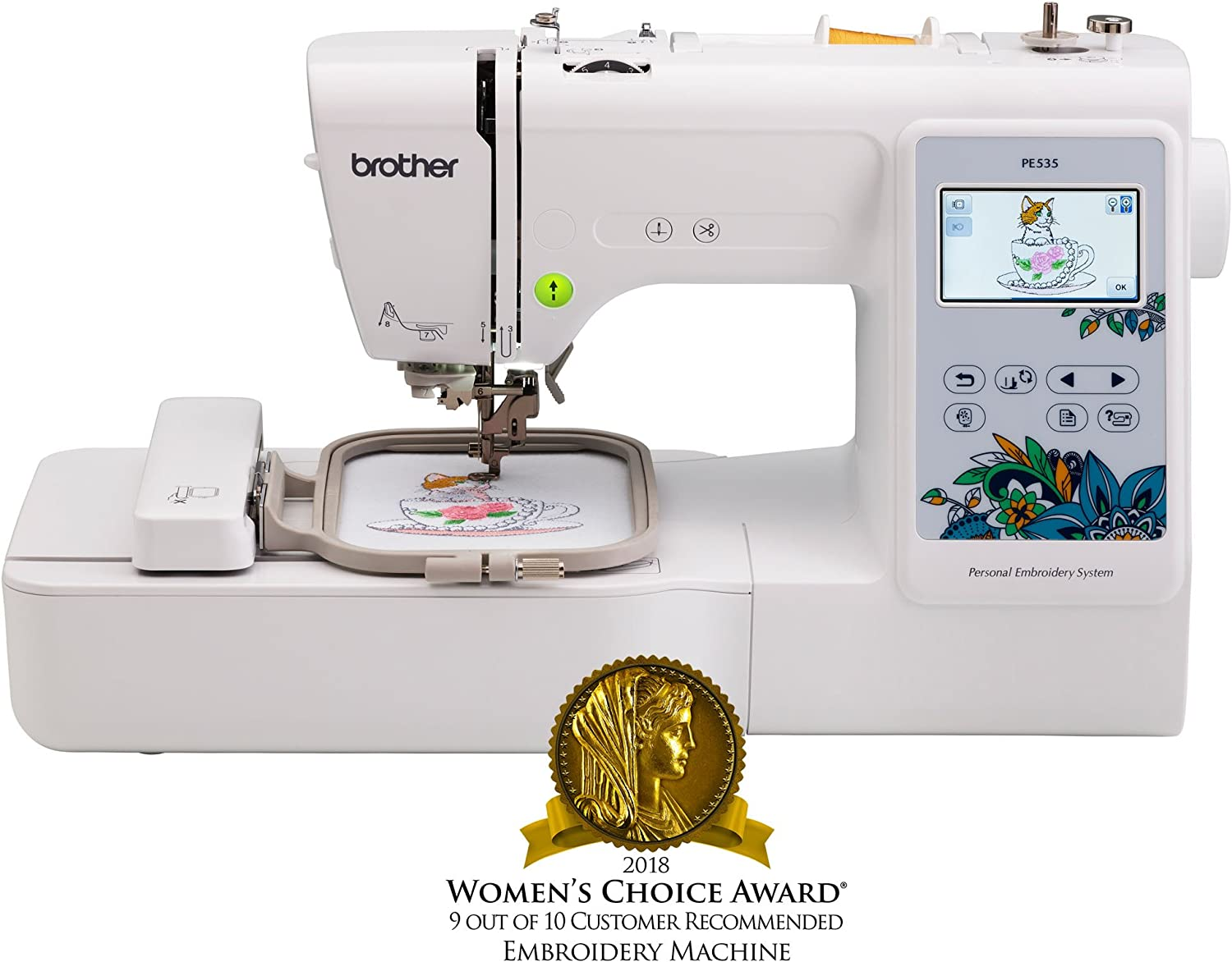 Brother Embroidery Machine, PE535, 80 Built-In Designs, Large LCD Color Touchscreen Display, 25-Year Limited Warranty, white