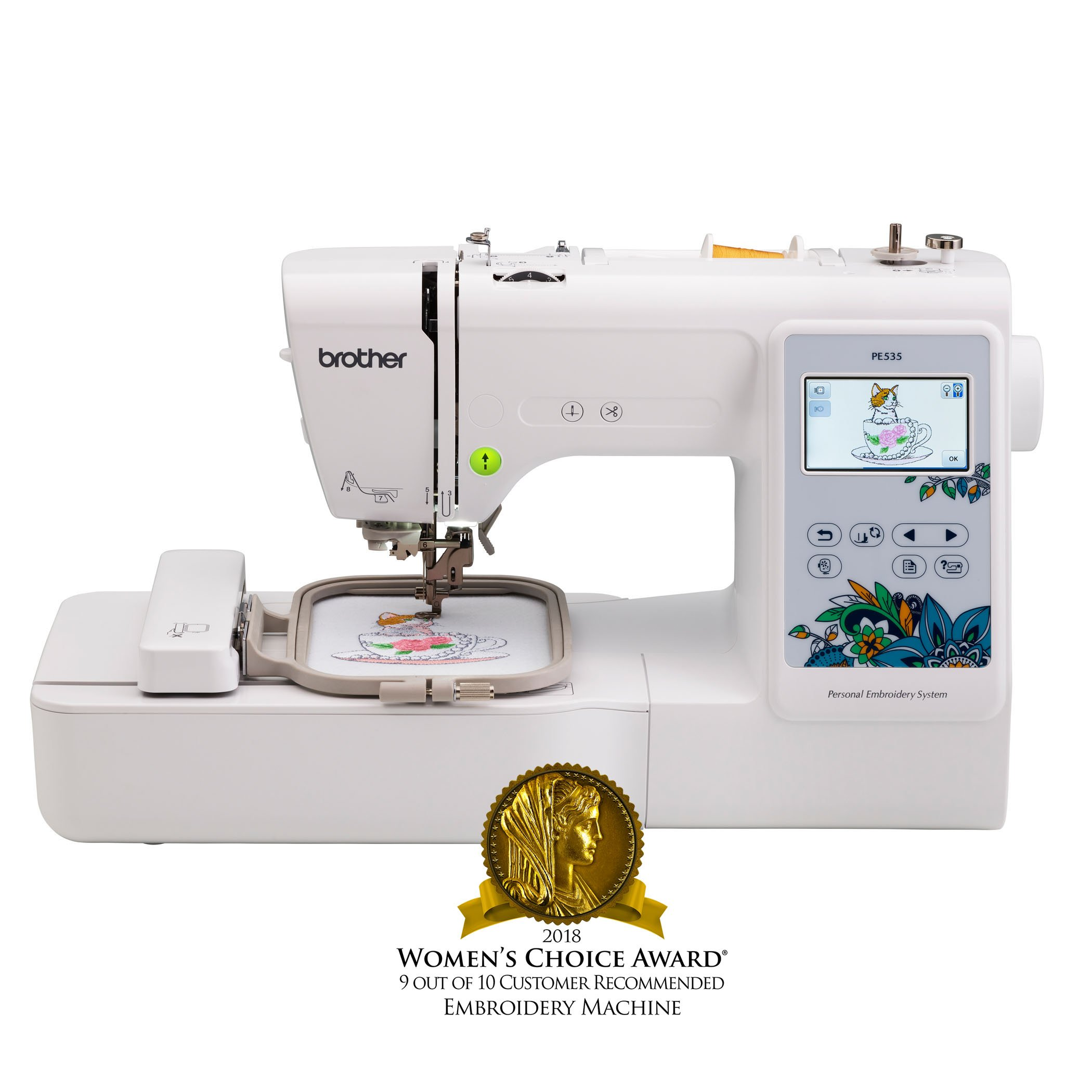 Brother Embroidery Machine, PE535, 80 Built-In Designs, Large LCD Color Touchscreen Display, 25-Year Limited Warranty, white by Brother