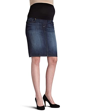 215a9289ffea9 PAIGE Denim Women's Maternity Maternity Larchmont Skirt, Blue, Maternity at Amazon  Women's Clothing store: Fashion Maternity Skirts