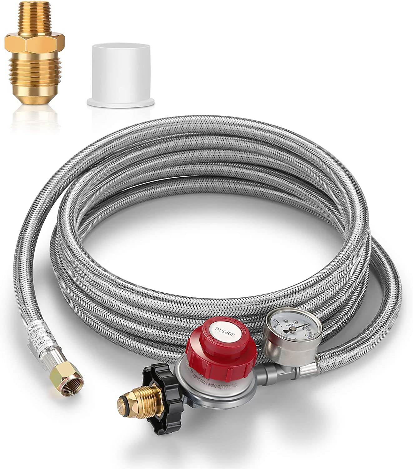 WADEO 12 Feet Adjustable Propane Regulator Hose with Gauge, 0-30 PSI High Pressure Stainless Steel Braided Hose with 1/8 MNPT Pipe Fitting for Grill, Burner, Fryer, Cooker, firepit and More