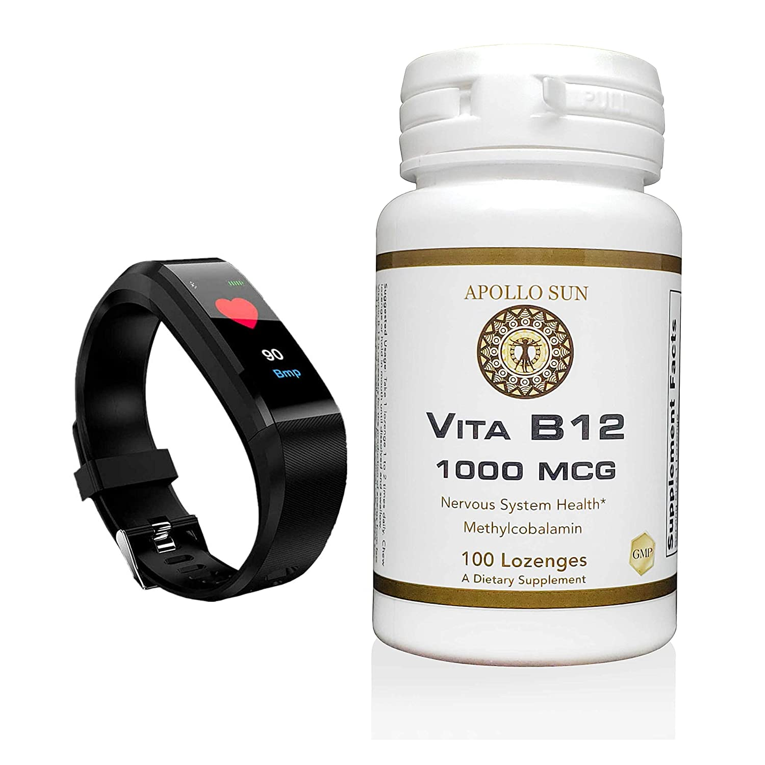 APOLLO SUN Vita B12 1000 Micrograms as Methylcobalamin Dietary Supplement - 100 Vegan Cherry Lozenges (with Smart Fitband Watch)