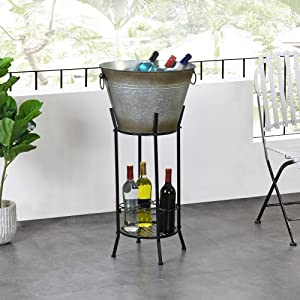 FirsTime & Co. Homestead Farmhouse Outdoor Beverage Tub and Wine Rack, American Crafted, Aged Galvanized Metal, 18 x 12.5 x 27.5 ,