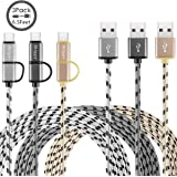 Miger (3Pack) 6.5Feet 2-in-1 Duo Cable, Micro B to Type A Data & Charging USB Cable with Type C Adapter for Devices with Type C USB or Micro USB Port (Gold+Gray+Silver)