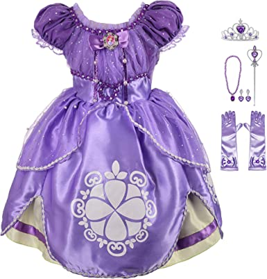 Lito Angels Girls Princess Dress Up Costume Halloween Fancy Party Dress Outfit with Long Braid Wig /& Accessories Set