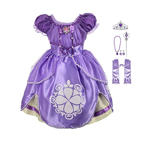Lito Angels Girls Princess Sofia The First Dress Up Costume Cosplay Fancy Party Dress Outfit with Accessories