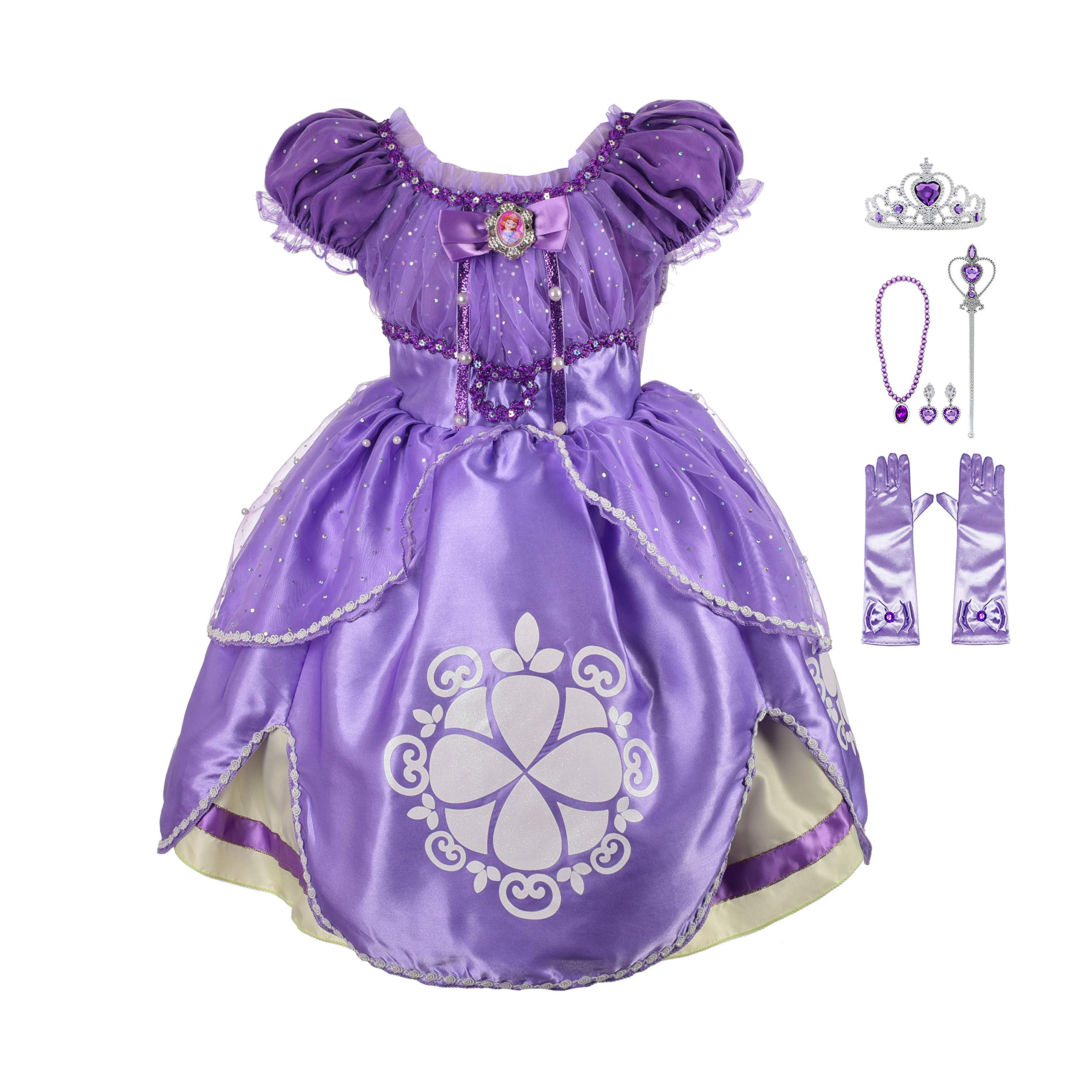 Lito Angels Girls' Princess Sofia The First Dress Up Costume Cosplay Fancy Party Dress Outfit with Accessories Size 4T