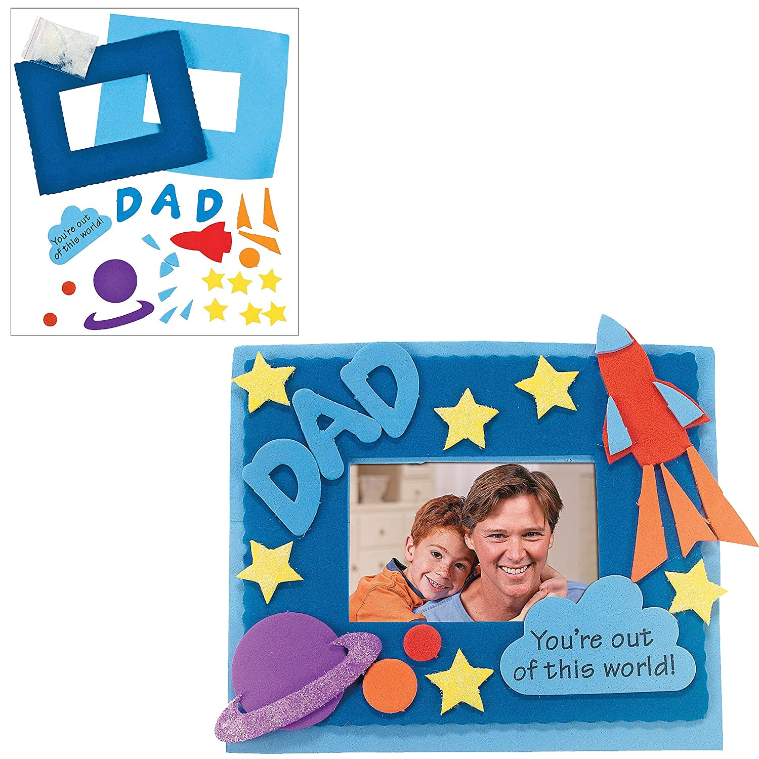 """Boy /& Girls Gift Pirate Pop-Up Craft Dads Picture Photo Frame Magnet Kit and Color Your Own /""""All About My Dad/"""" Wheels Super Dad Sticker Cards DIY /""""Dad/"""" Keychains Fathers Day DIY Craft Kit"""