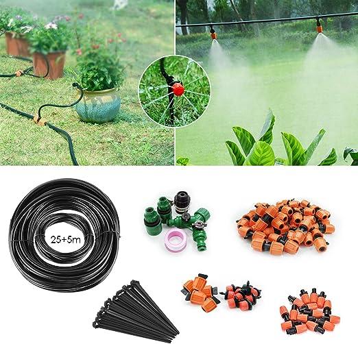 FIXKIT Kit de Riego por Goteo Automático 30 m, Micro Drop Ahorro de Agua Micro Goteo por Riego del Jardín, Kit de Riego Automático por Tubería 25+5 m: Amazon.es: Jardín