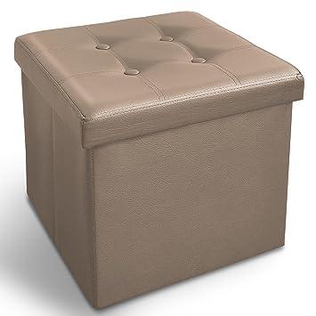 Casa Pura Ottoman Hocker Mit Stauraum 2 Größen Faltbar Kunstleder Große Aufbewahrungsbox Mit Deckel Kiste Zur Aufbewahrung 38x38x38cm Beige