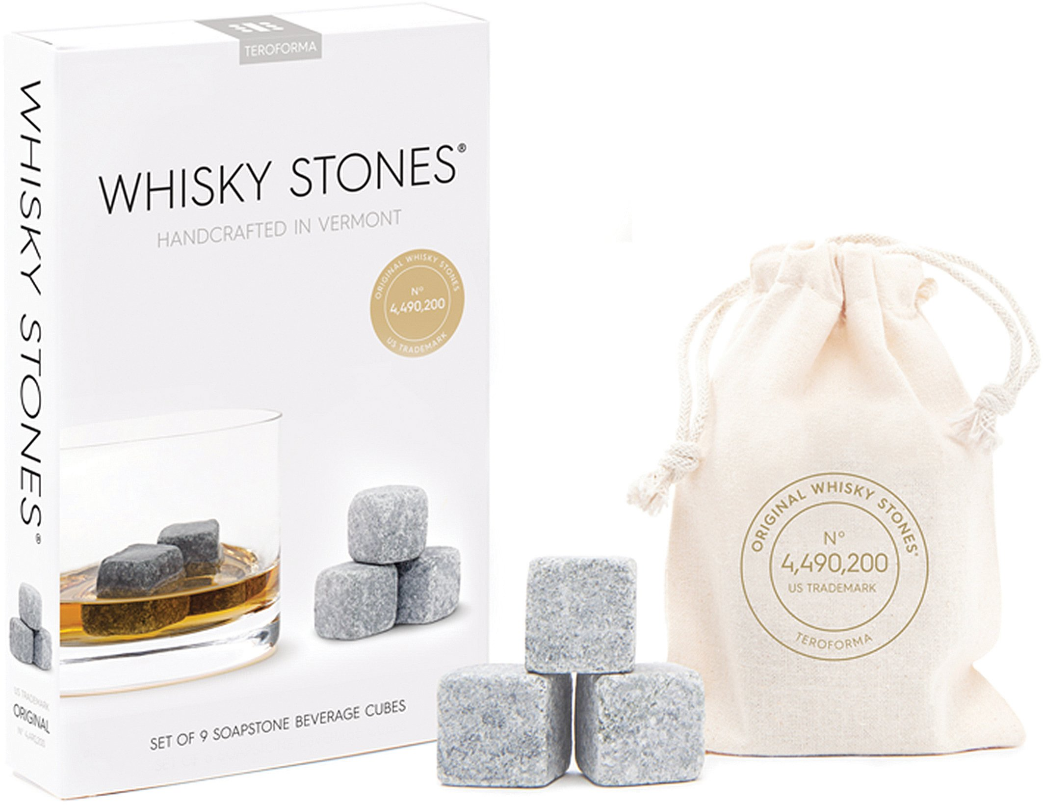 Teroforma CLASSIC Whisky Stones - Handcrafted Soapstone Beverage Chilling Cubes, Set of 9 (Natural, 0.88'')
