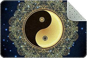 LORVIES Doormat Custom Indoor Welcome Door Mat, Vintage Mandala Round Yin Yang Pattern Home Decorative Entry Rug Garden/Kitchen/Bedroom Mat Non-Slip Rubber 24x16 Inch