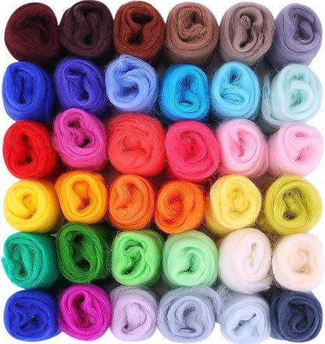 Jeteven 50 Colors Felting Wool Merino Fibre Roving Wool for Needle Felting with 1 Set Needle Felting Starter Kit Wool Felt Tool JETEVENLorvsap3507