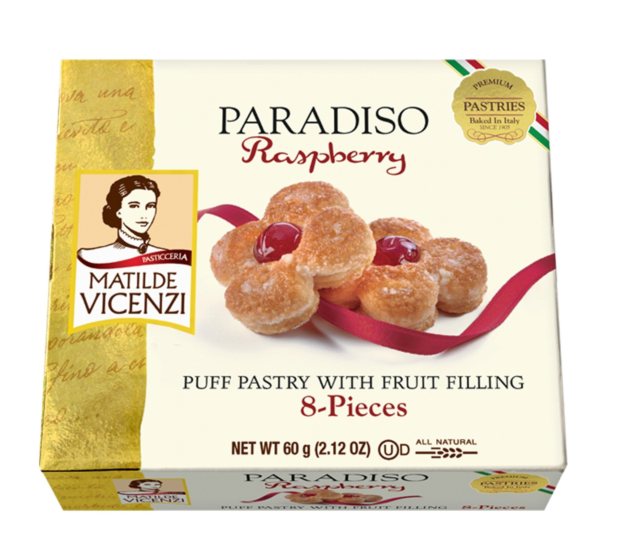 Matilde Vicenzi, PARADISO Raspberry, Puff Pastry with Fruit Filling, 2.12 oz, Pack of 6