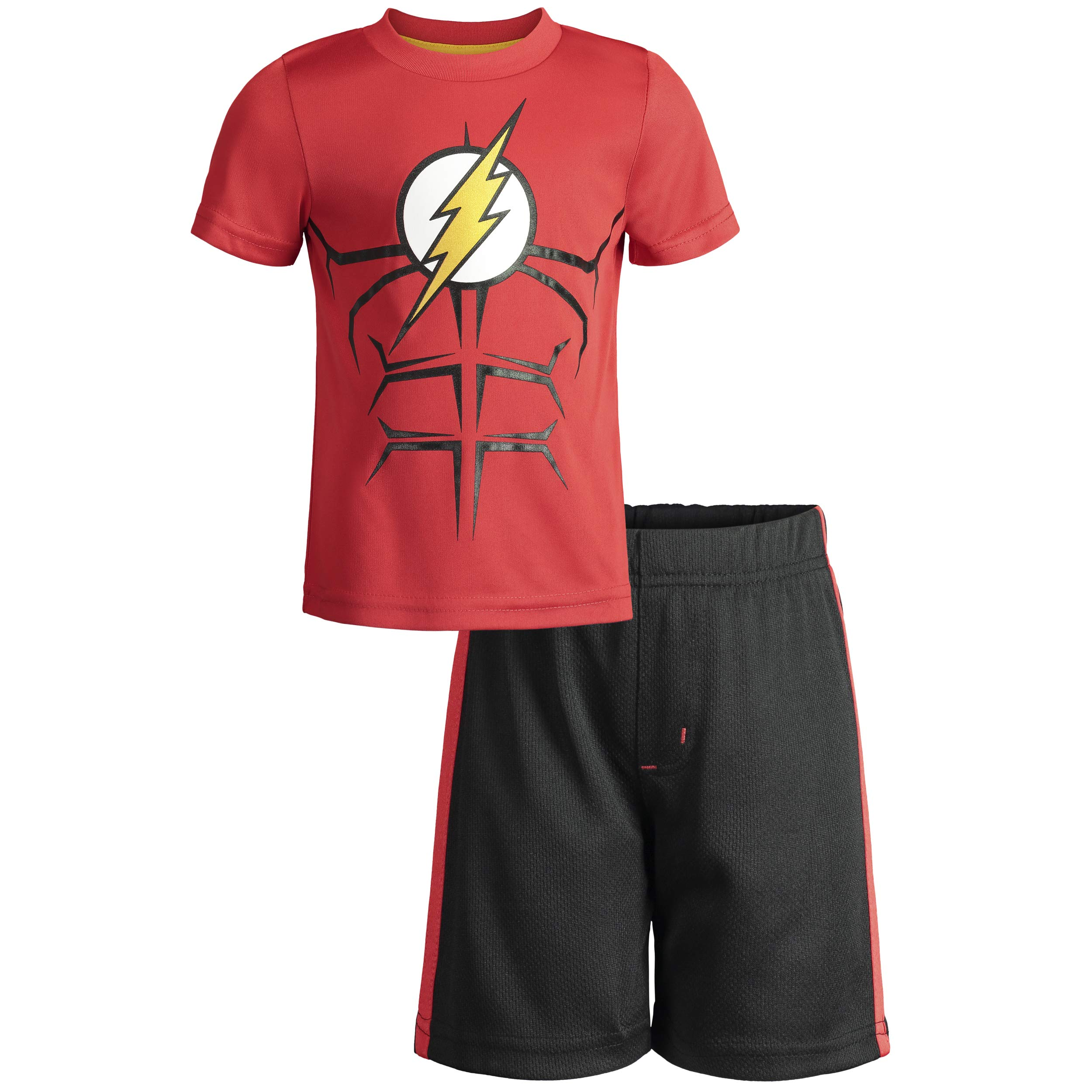 Warner Bros The Flash Little Boys' Athletic Performance T-Shirt & Mesh Shorts Set, Red/Black (5)