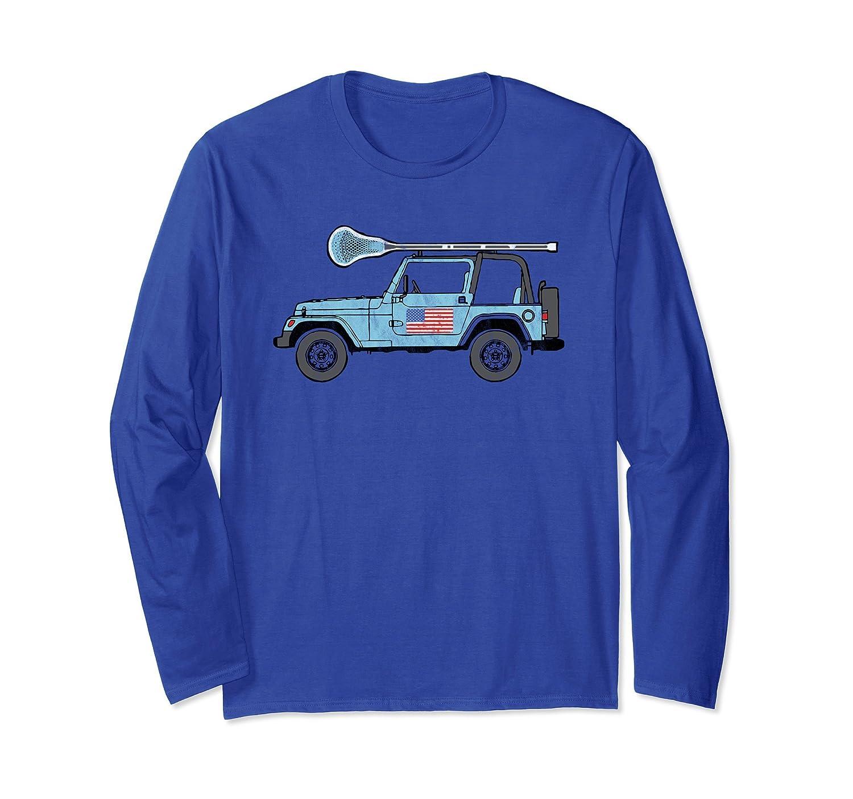 USA Flag SUV Off-Road Vehicle Lacrosse Long Sleeve Shirt-fa