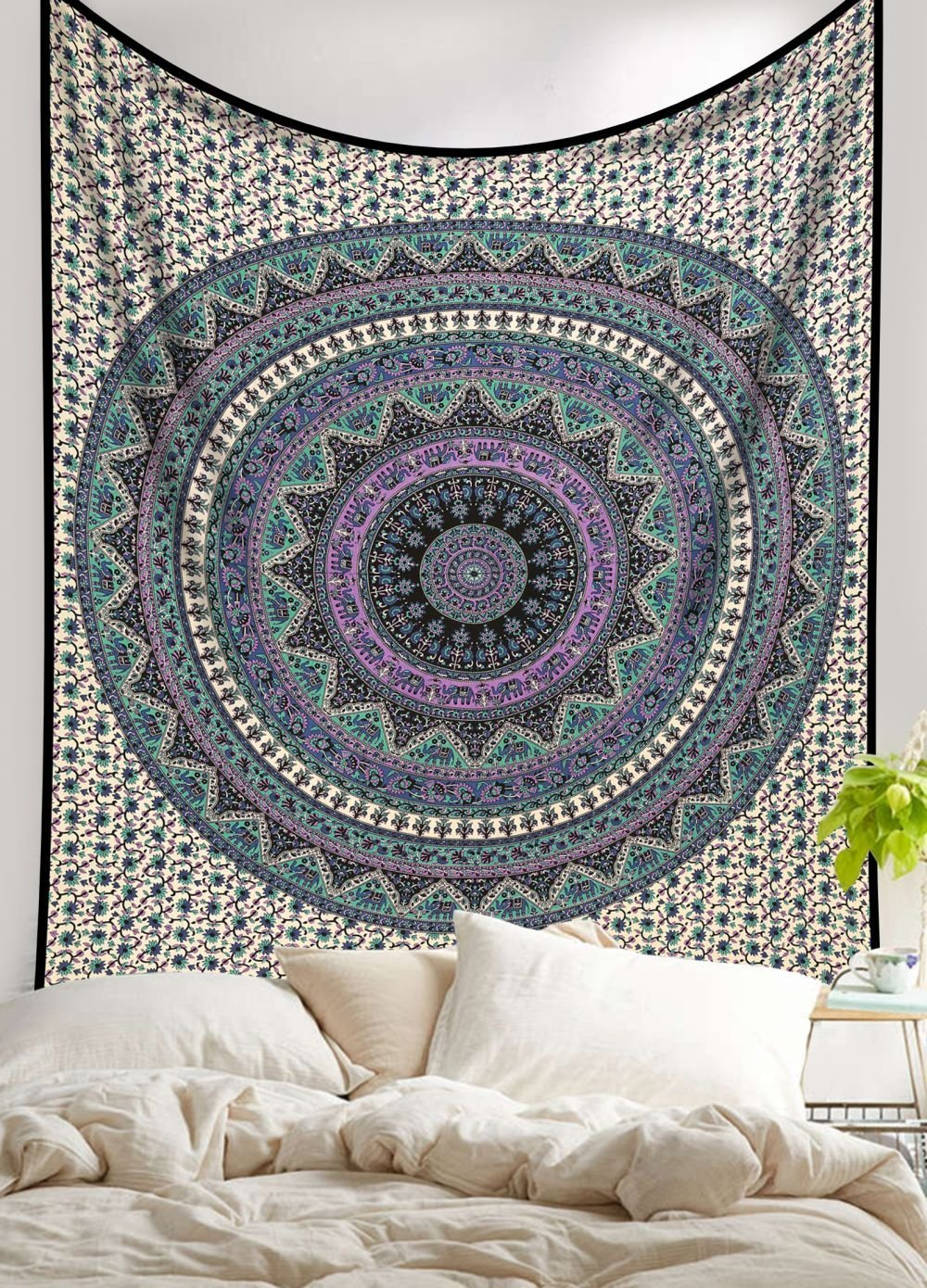 Amazoncom Large Indian Mandala Tapestry Hippie Hippy
