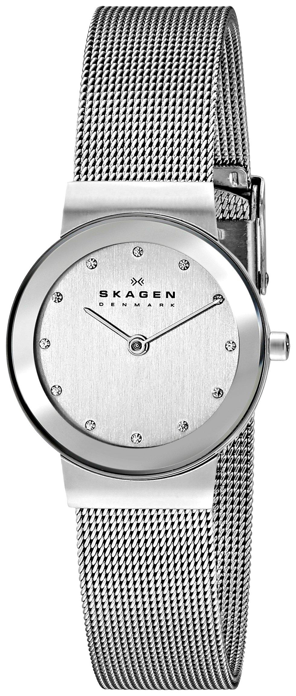 Skagen Women's Freja Quartz Stainless Steel Mesh Casual Watch, Color: Silver-Tone (Model: 358SSSD)
