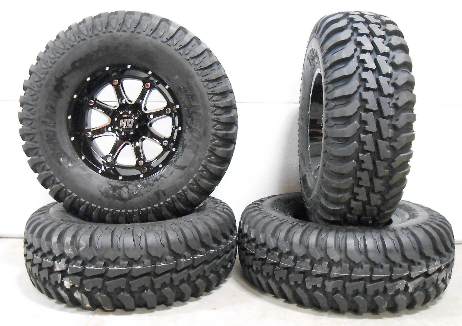 Bundle - 9 Items: STI HD4 14'' Wheels Black 30'' Regulator Tires [4x156 Bolt Pattern 12mmx1.5 Lug Kit]