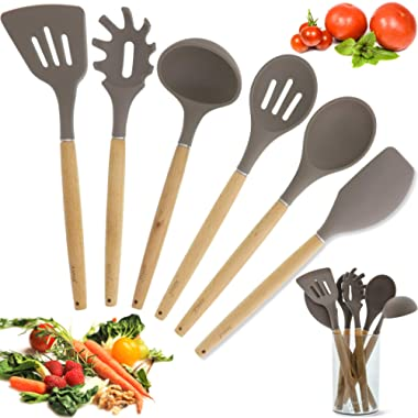 Juvale Bamboo Non-Stick Silicone Kitchen Utensil Cooking Tools 7 Piece Set with Holder