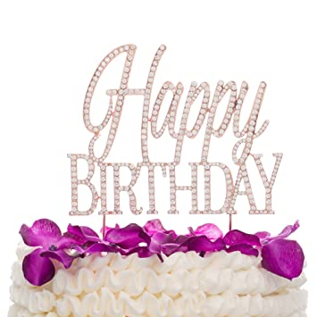 Image Unavailable Not Available For Color Ella Celebration Happy Birthday Cake Topper Rose Gold