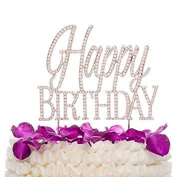 Ella Celebration Happy Birthday Cake Topper Rose Gold Amazon