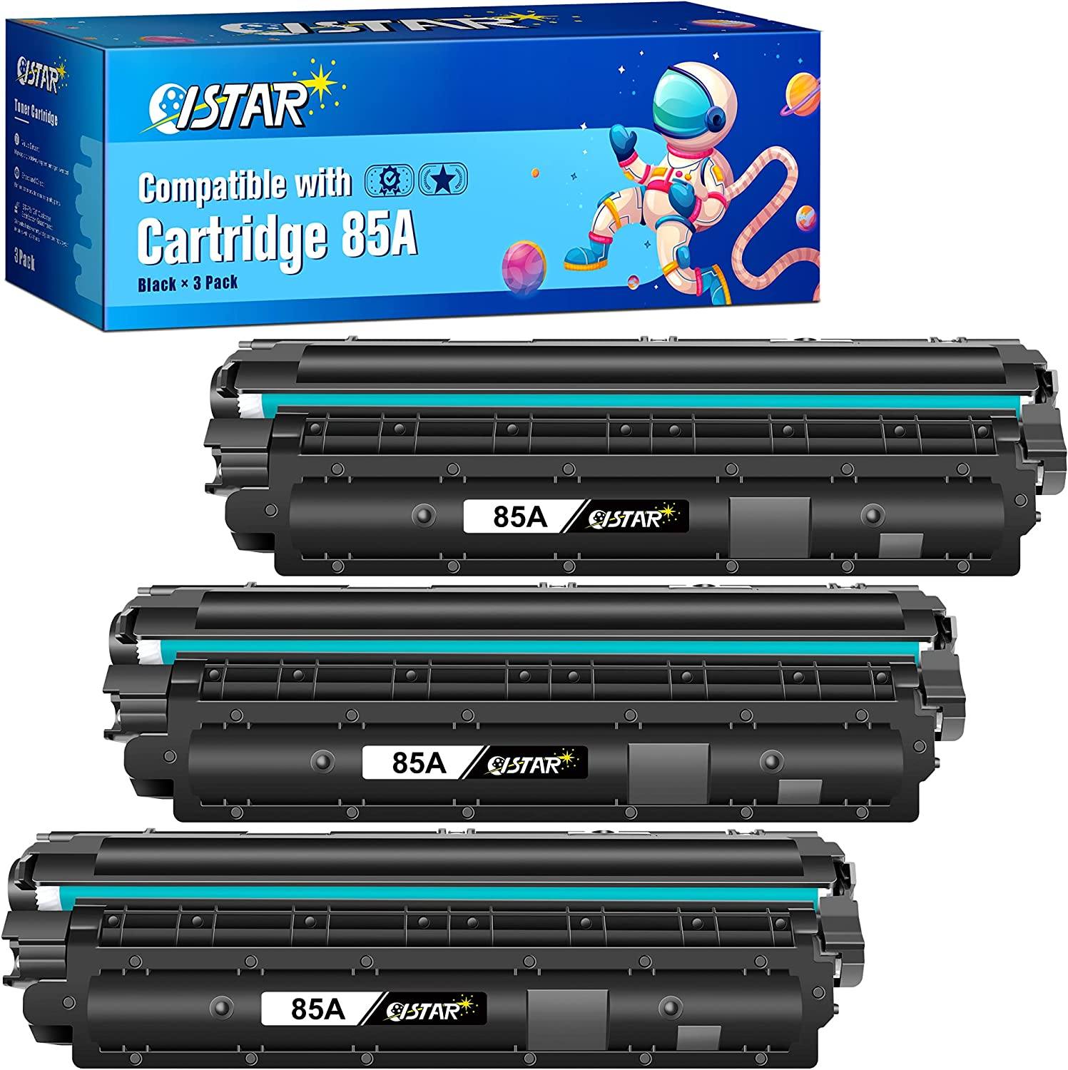 ISTAR Compatible Toner Cartridge Replacement for HP 85A CE285A to use with Laserjet Pro P1102w P1109w M1212nf M1132 M1138 M1139 M1219nf M1217nfw Printer (3 Black, High Yield)