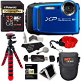 Fujifilm FinePix XP120 Waterproof Digital Camera - Blue, Polaroid 32GB SD Memory Card, Ritz Gear Flexi Tripod, Ritz Gear Point and Shoot Camera Case, Floating Strap, Cleaning Kit and Accessory Bundle