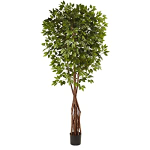 Nearly Natural Super Deluxe Ficus Tree, 7.5'