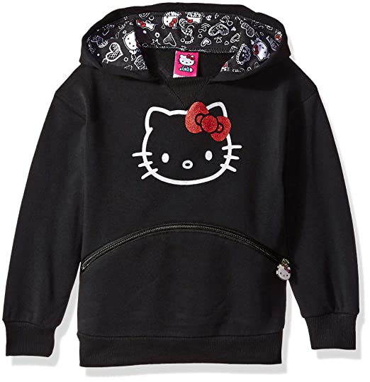 Hello Kitty Girls Little Character Hoodie, Black 6X