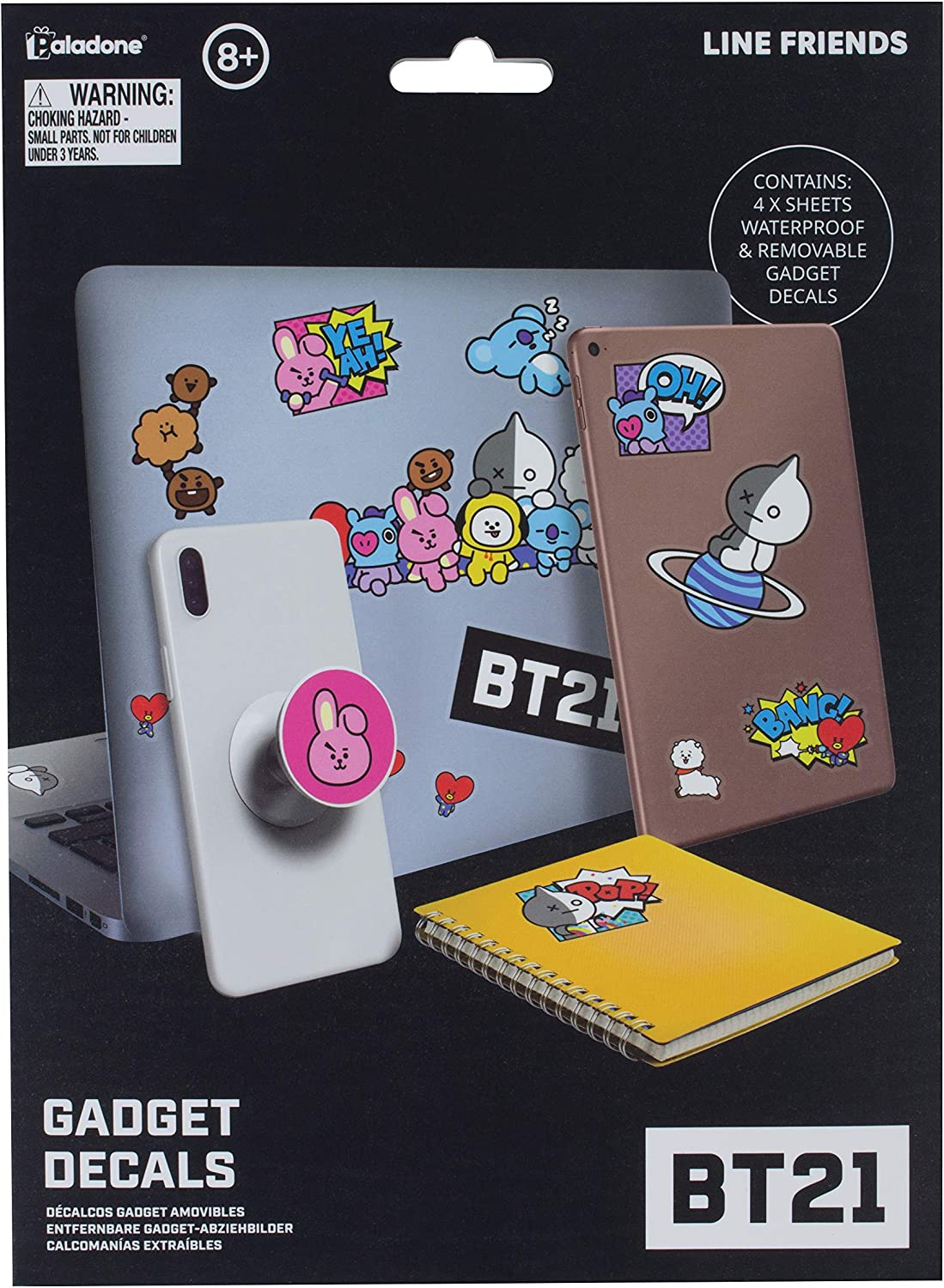 BT21 Line Friends Gadget Decals - 4 Sheets of Waterproof Removable Laptop Stickers