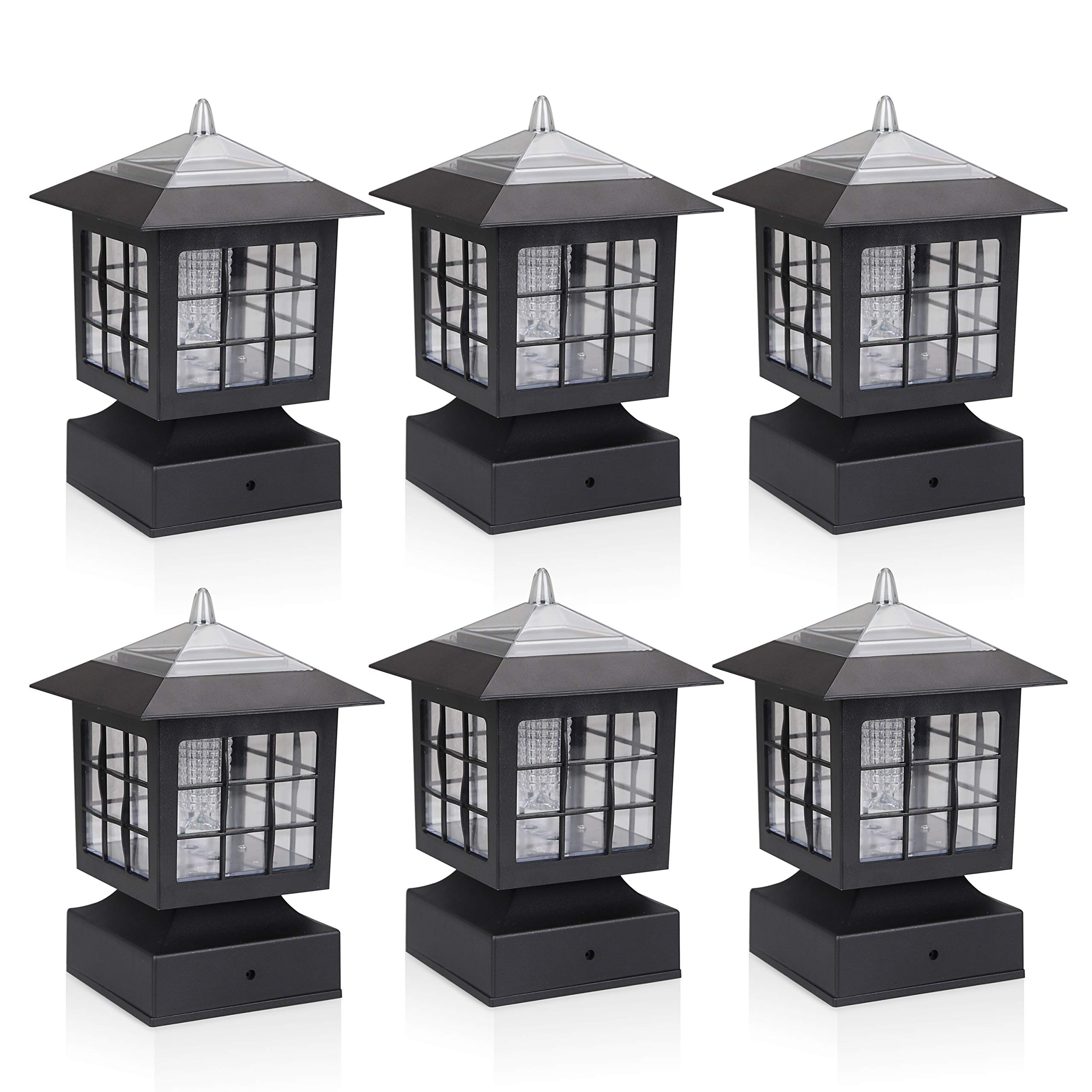 KMC LIGHTING KS101X6 Outdoor Solar Light 6 Pack with 4-Inch Fitter Base for Outdoor Garden Post Pole Mount 4.88X4.88X7.48'' by KMC LIGHTING