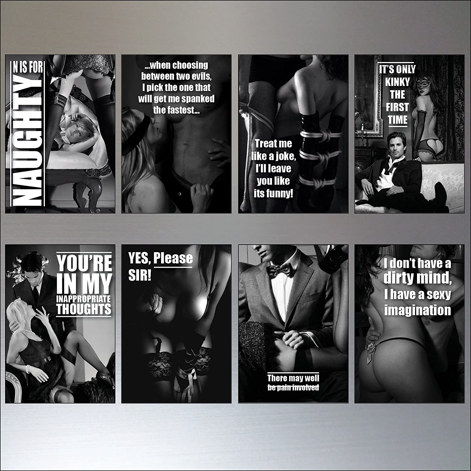 Erotic quotes black an white Set of 8 Fridge Magnets