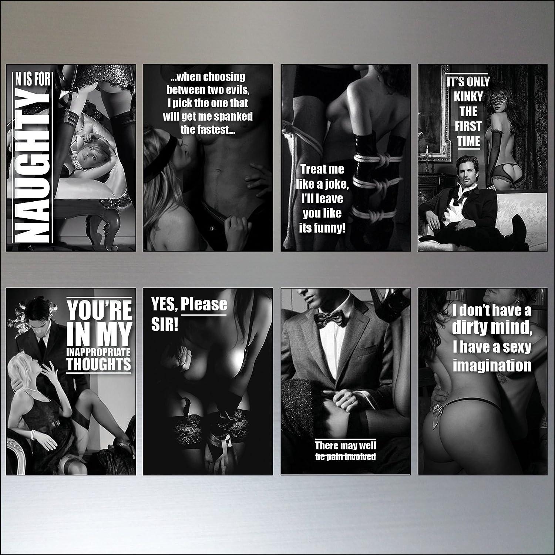 Erotic quotes black an white Set of 8 Fridge Magnets