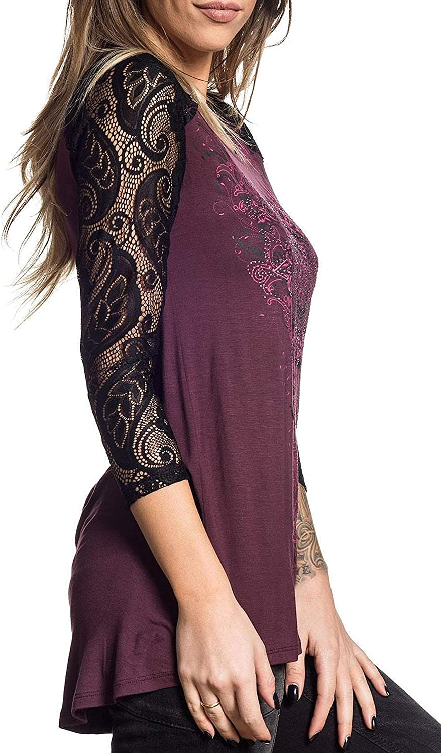 Sinful Dusty Road 3//4 Sleeve Graphic Fashion Scoop Neck T-shirt Top By Affliction