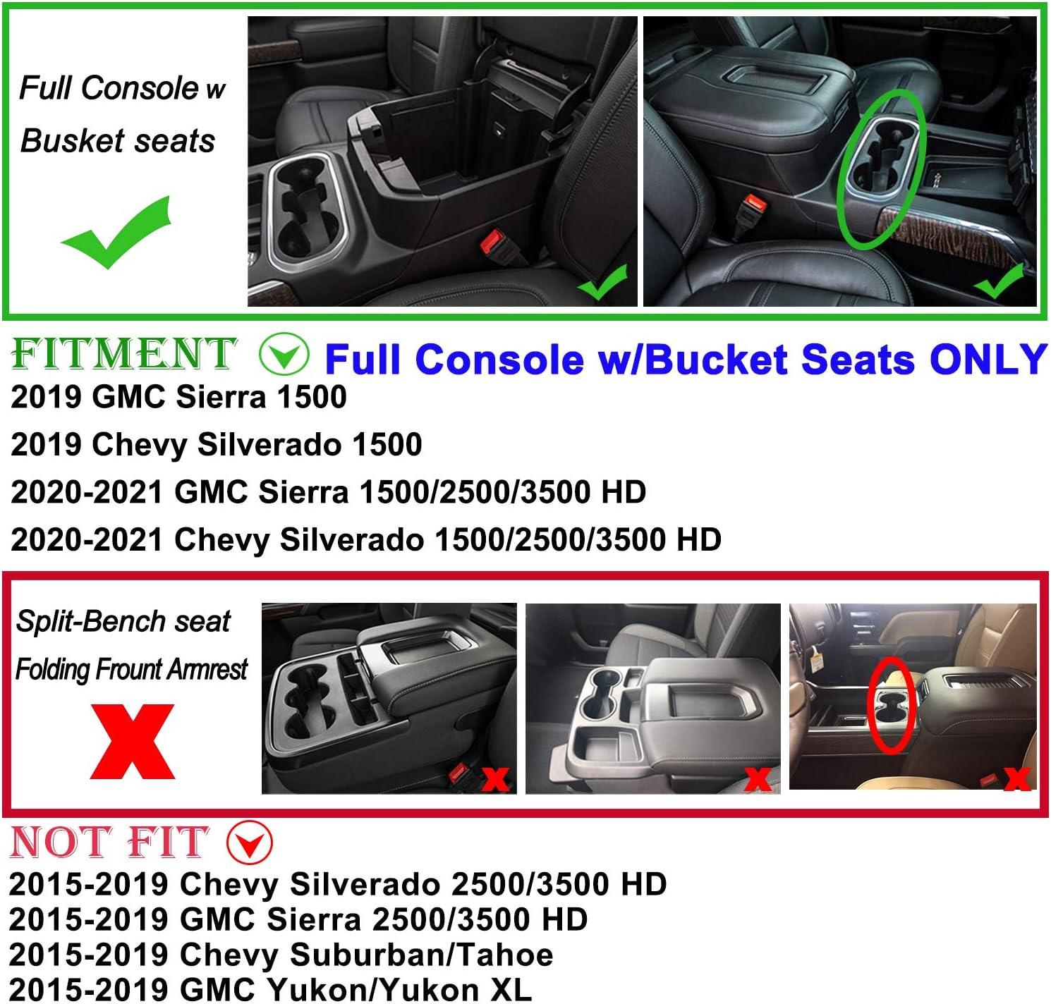 Full Console w//Bucket Seats ONLY Richeer Center Console Organizer Tray Compatible with 2019-2020 GMC Sierra 1500//Chevy Sliverado 1500 2020 Sliverado 1500//GMC Sierra 2500HD//3500 HD Armrest Box