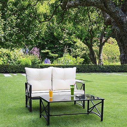 Amazon.com: Linlux - 2 sillas de jardín para exteriores con ...