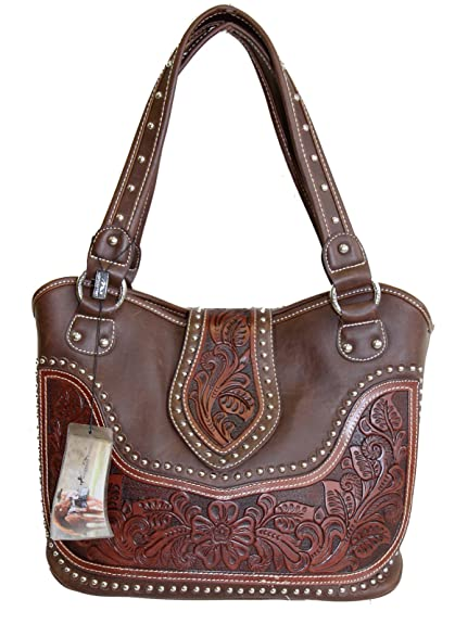 Montana West Ladies Concealed Gun Handbag Tooled Genuine Leather Dark Brown