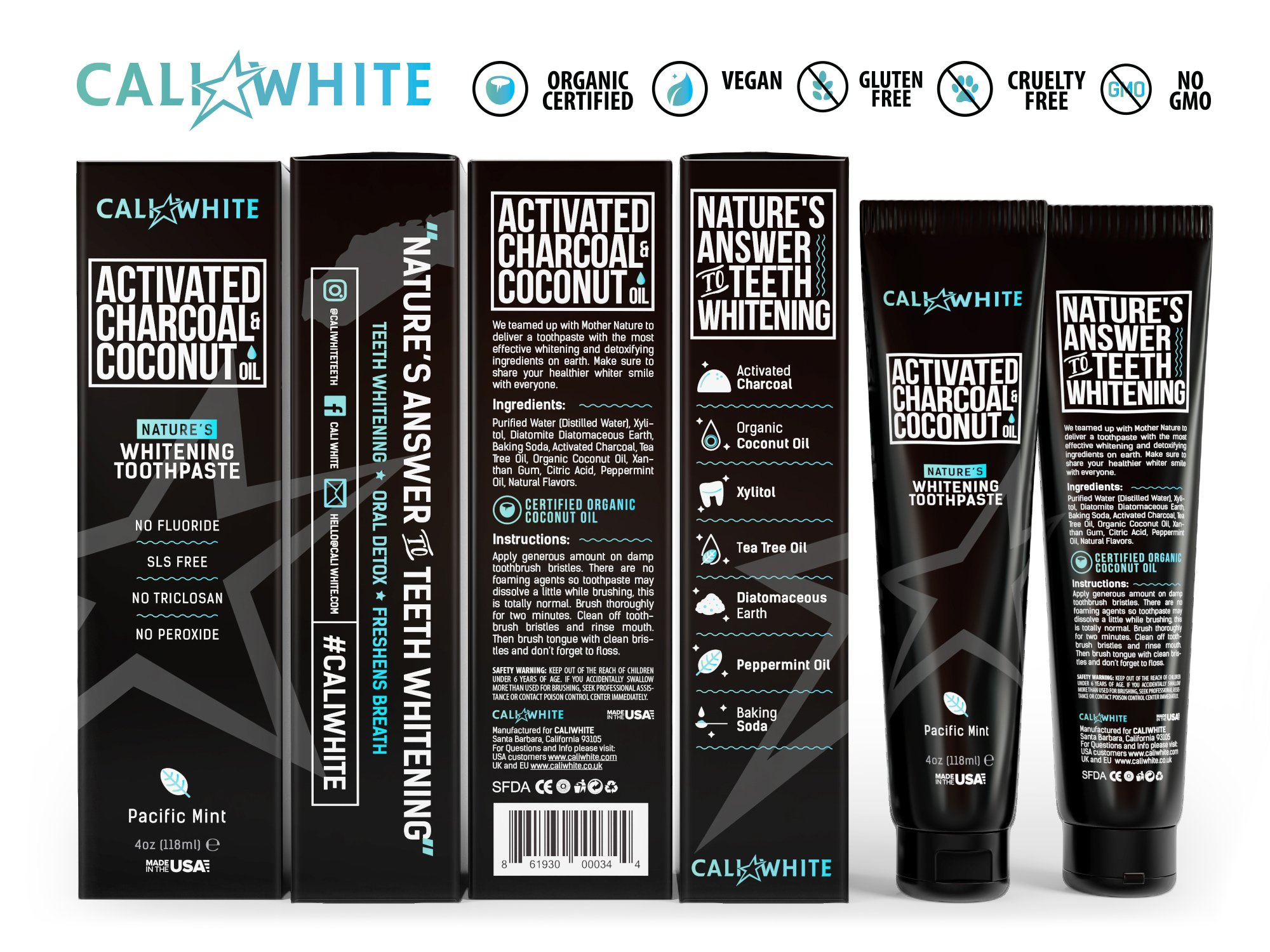 Cali White ACTIVATED CHARCOAL & ORGANIC COCONUT OIL TEETH WHITENING TOOTHPASTE, MADE IN USA, Best Natural Whitener, Vegan, Fluoride Free, Sulfate Free, Organic, Black Tooth Paste, Kids MINT (4oz) by Cali White (Image #3)