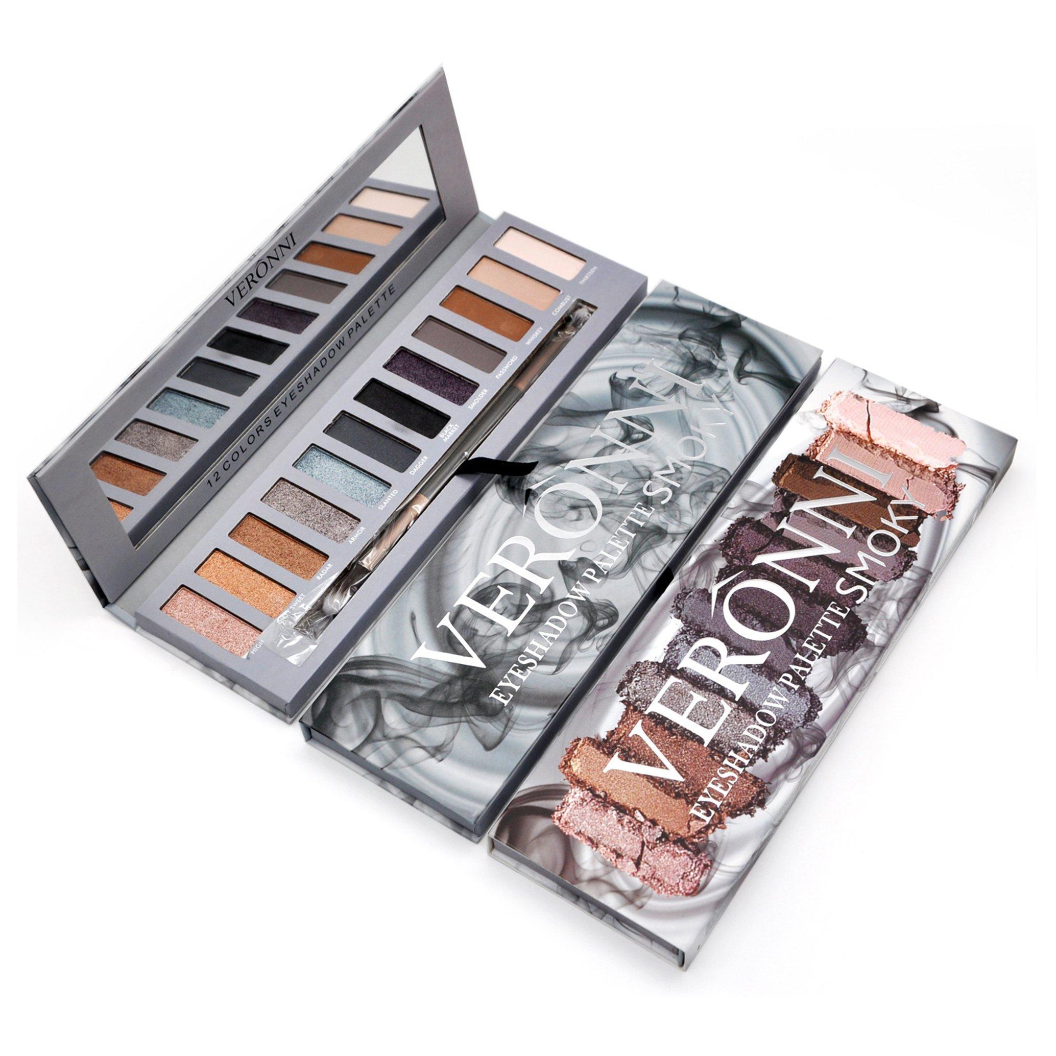 Eyeshadow Palette Smoky Makeup kit,Matte&Shimmer 12Colors   High Pigmented   Vegan Nude Warm Natural Smokey Pro Eye Shadow with Mirror&Eye Brush Cosmetic Set