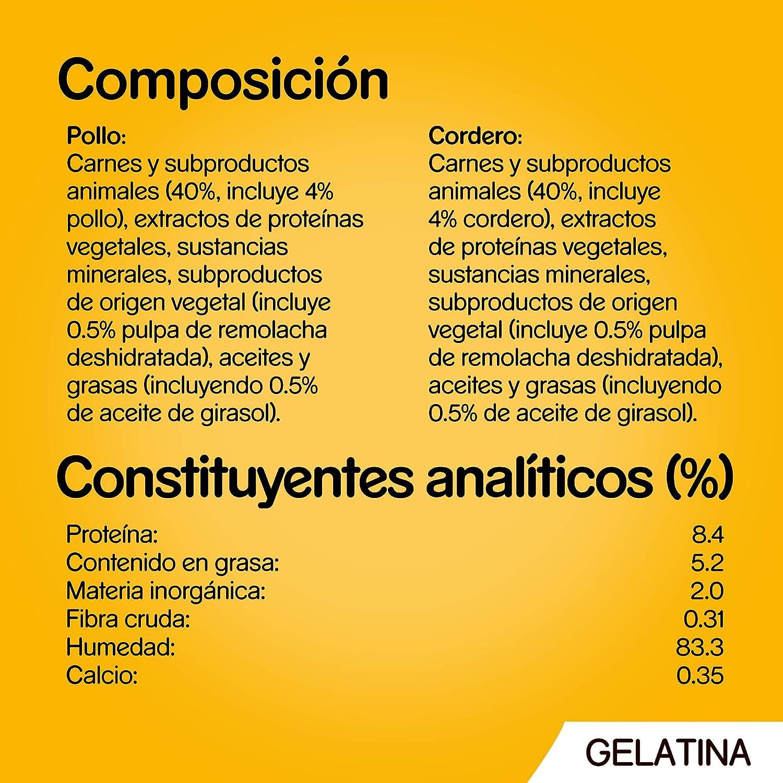 Pedigree Comida húmeda para Perros en Gelatina Sabores Pollo y Cordero, Multipack (13 Packs x 4 bolsitas x 100g)