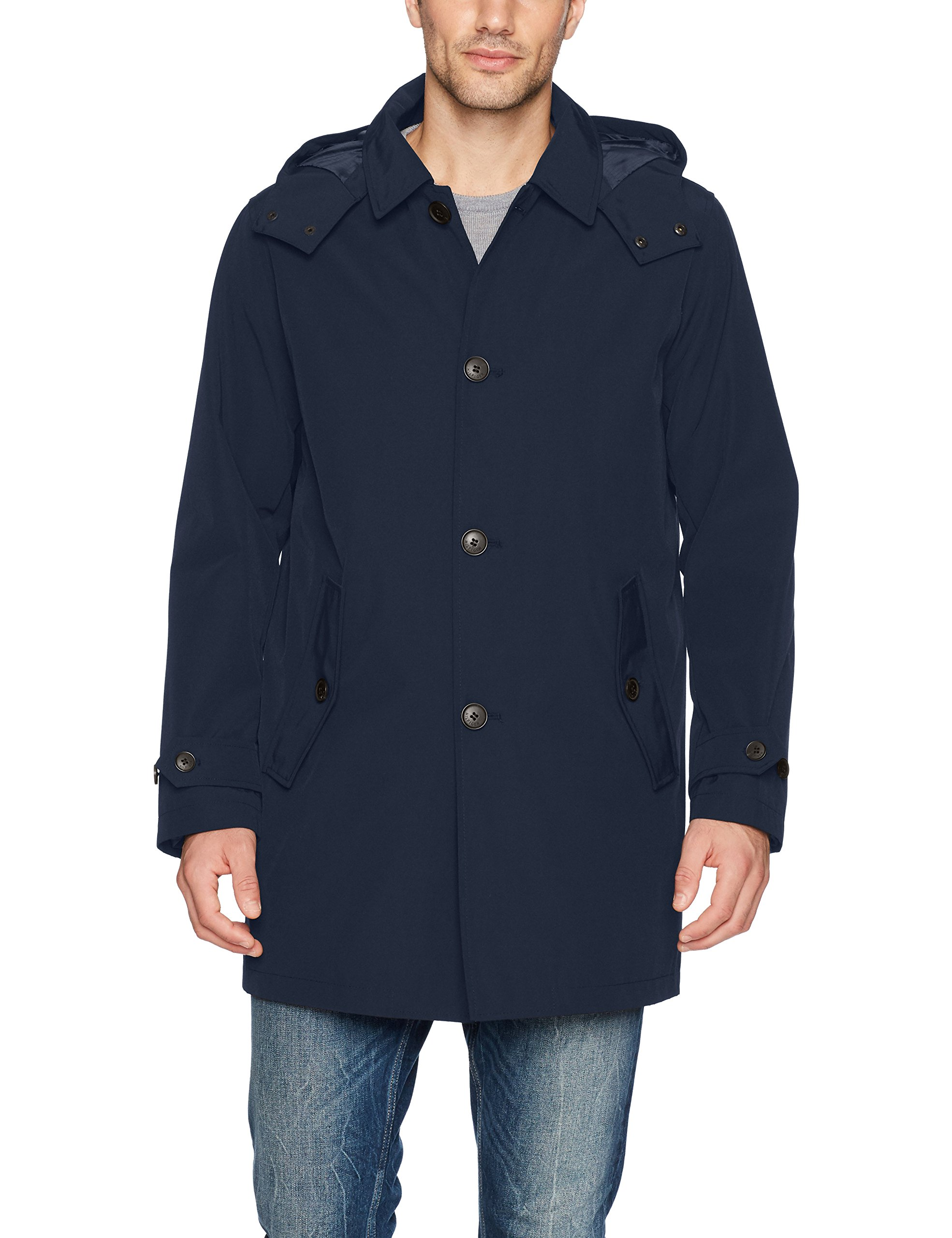 Tommy Hilfiger Men's Hooded Rain Trench Coat with Removable Quilted Liner, Navy, XX-Large by Tommy Hilfiger