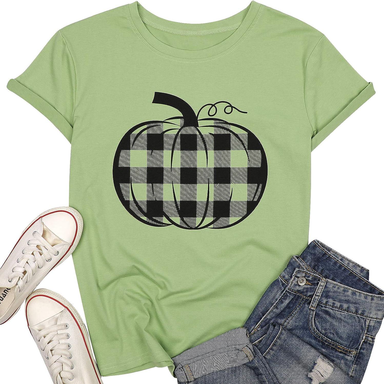 LUKYCILD Pumpkin Shirt Top Halloween Thanksgiving Gift Top Women Pumpkin Plaid Graphic Print T Shirt Tee