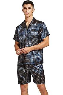Pijama de manga corta para hombre de satén con pantalones cortos Azul Dorado L: Amazon.es: Ropa y accesorios