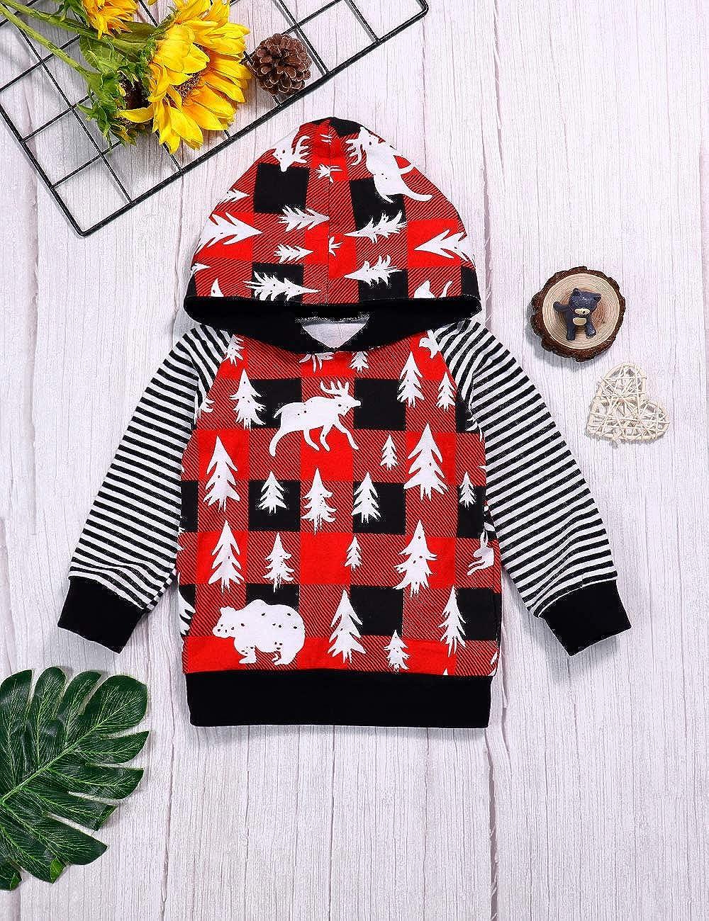 Bambini Neonati Baby Boy Vestiti Albero di Natale Alce 2 PEC Outfits a Maniche Lunghe Felpa con Cappuccio Tops e Pantaloni Sets.